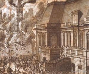 Gravure de l'incendie du XVIIIe siècle